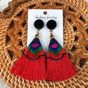 3/$30 Red Boho Tassel Earrings